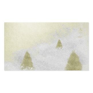 árboles de pino del navidad en la pintura de la tarjetas de visita