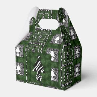 Árboles del día de fiesta con tema del estampado caja de regalos