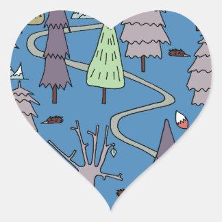 árboles del invierno pegatina en forma de corazón