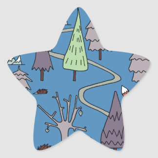 árboles del invierno pegatina en forma de estrella