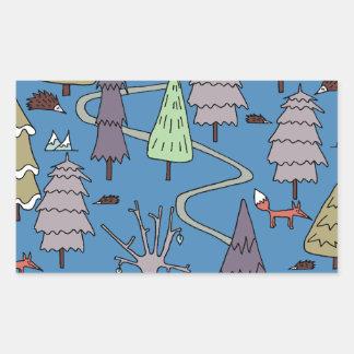 árboles del invierno pegatina rectangular