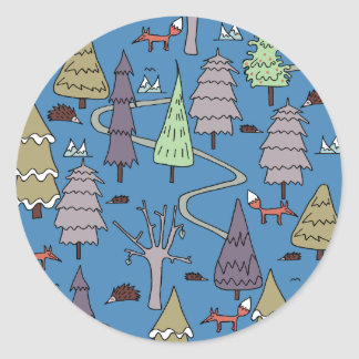 árboles del invierno pegatina redonda
