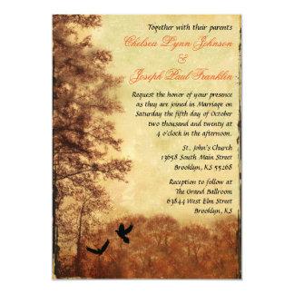 Árboles del otoño que casan la invitación