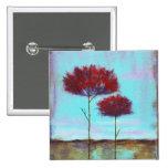 Árboles del rojo del paisaje del arte acariciado, chapa cuadrada 5 cm