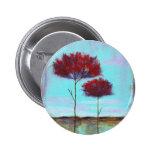 Árboles del rojo del paisaje del arte acariciado, chapa redonda 5 cm