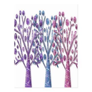 Árboles en colores pastel mágicos postal