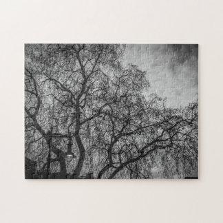Árboles en rompecabezas blanco y negro de la foto