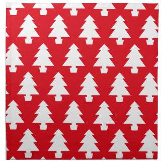 Árboles festivos rojos servilleta de tela
