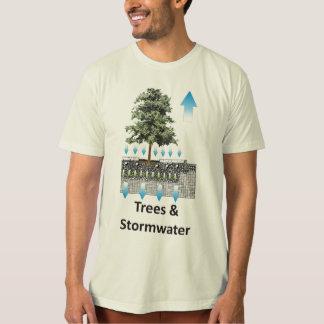 Árboles y camiseta orgánica de la precipitación