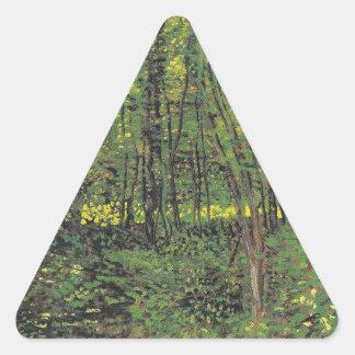 Árboles y maleza de Van Gogh Pegatina Triangular