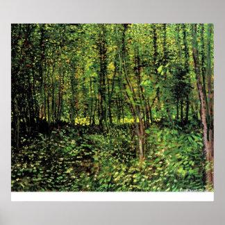 Árboles y maleza de Vincent van Gogh Póster