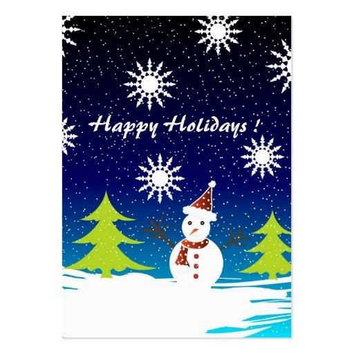 Árboles y muñeco de nieve - tarjeta de etiqueta de tarjetas de visita