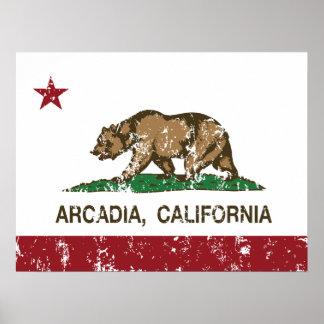 Arcadia de la bandera del estado de California Posters