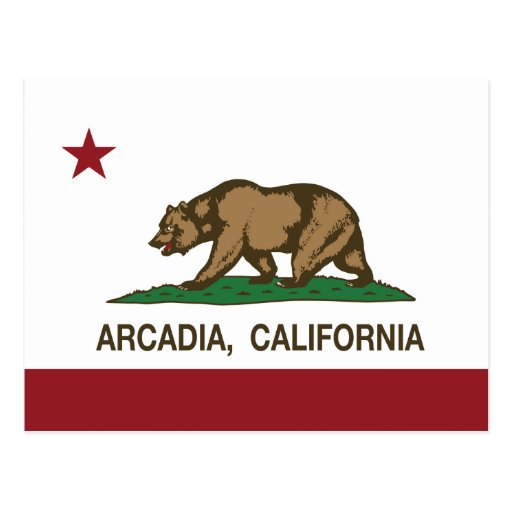 Arcadia de la bandera del estado de California Tarjeta Postal