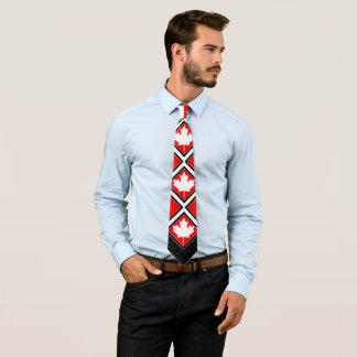 Arce canadiense en blanco negro rojo corbata personalizada