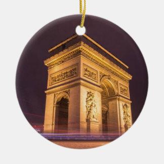 arch de triomphe en París, Francia en la noche Adorno Redondo De Cerámica