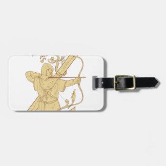 Archer medieval que apunta drenaje de la letra Z Etiqueta Para Maletas