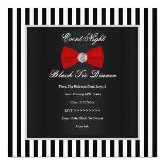 Arco blanco negro rojo formal de la raya de la invitación 13,3 cm x 13,3cm
