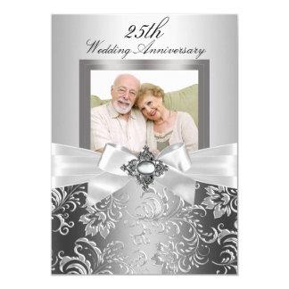 Arco de plata de la joya y 25to aniversario de invitación 12,7 x 17,8 cm