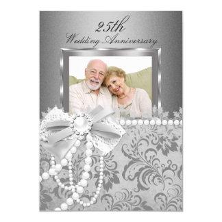 Arco de plata de la perla y 25to aniversario de invitación 12,7 x 17,8 cm