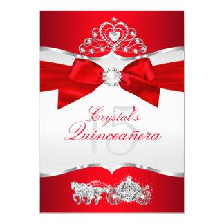 Arco de plata rojo real Quinceanera de la perla de Invitación 12,7 X 17,8 Cm