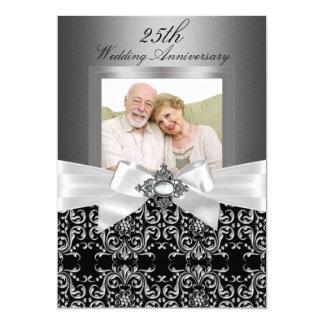 Arco de plata y 25to aniversario de boda floral 2 invitación 12,7 x 17,8 cm