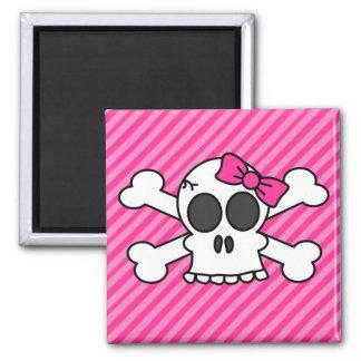 Arco del cráneo y del rosa de la bandera pirata imán cuadrado