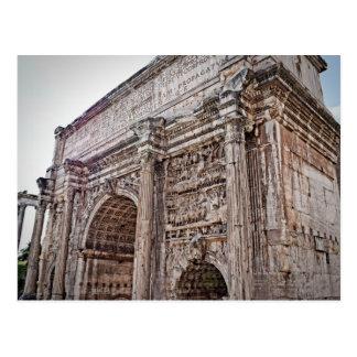 Arco del foro de Roma de la postal de Septimius