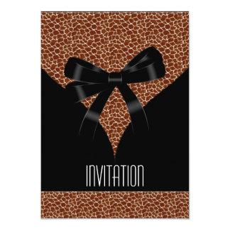 Arco del negro del estampado de animales de la invitación 12,7 x 17,8 cm