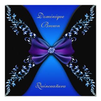 Arco elegante del diamante del azul real invitación 13,3 cm x 13,3cm