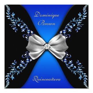 Arco elegante del diamante negro de azul real invitación 13,3 cm x 13,3cm