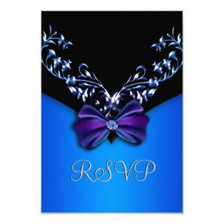 Arco elegante RSVP del diamante del azul real Invitación 8,9 X 12,7 Cm