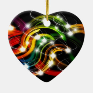 Arco iris 3D abstracto Adorno Navideño De Cerámica En Forma De Corazón