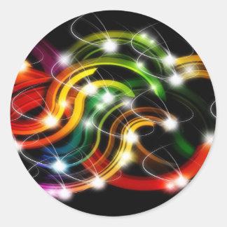 Arco iris 3D abstracto Pegatina Redonda
