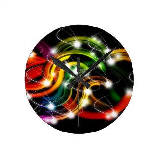 Arco iris 3D abstracto Reloj Redondo Mediano