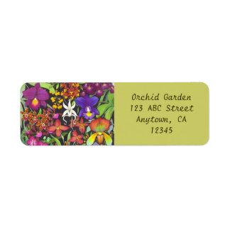 Arco iris de la etiqueta de Avery de las orquídeas