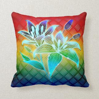 Arco iris de la flor del metal almohadas