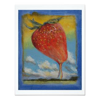 Arco iris de la fresa invitación 10,8 x 13,9 cm