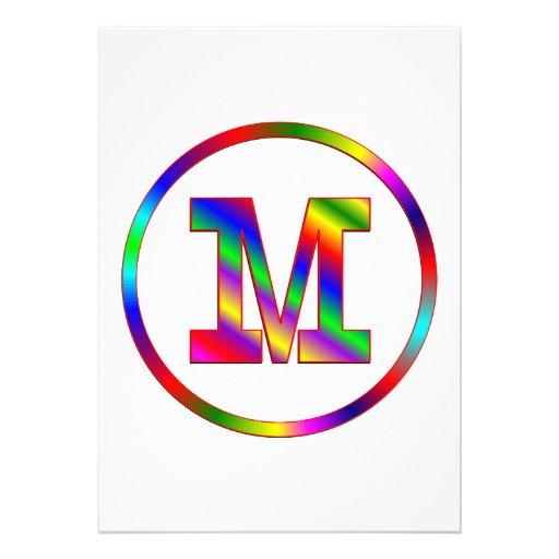 Arco iris de la letra M Comunicados Personalizados de Zazzle.