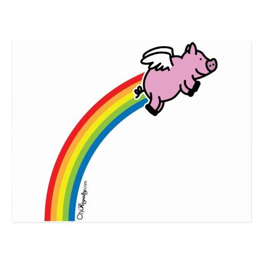 Arco iris del cerdo del vuelo postal