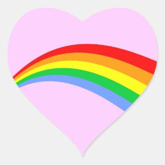 Arco iris del estilo del vintage del tigre 80s de pegatina en forma de corazón