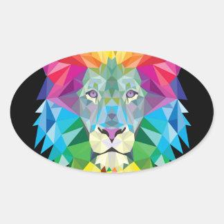Arco iris del león pegatina ovalada