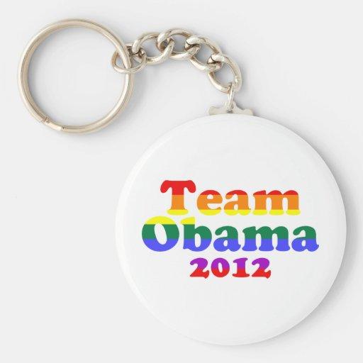 Arco iris del orgullo gay de Obama del equipo Llaveros