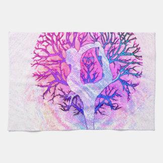 Arco iris del pastel del árbol de la yoga paño de cocina