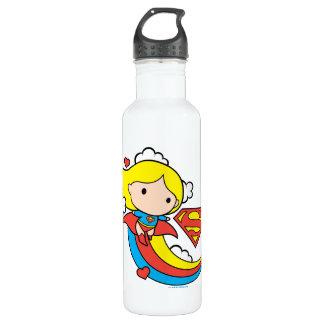 Arco iris del vuelo de Chibi Supergirl Botella De Agua