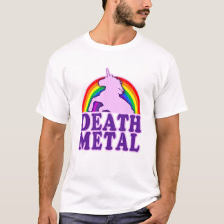 Arco iris divertido del unicornio del metal de la camiseta