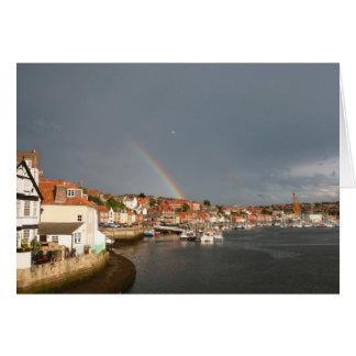 arco iris doble, Whitby, Reino Unido - notecard Tarjeta