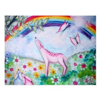 Arco iris feliz postal