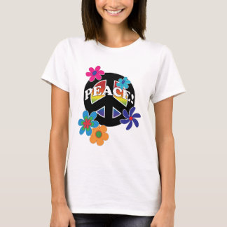Arco iris floral de la paz de la paz camiseta