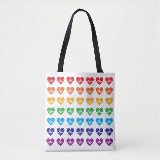 Arco iris fuerte de los corazones del pulso 49 de bolsa de tela